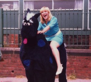 Mel aged 16, astride a pantomime horse