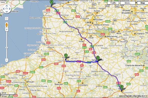 Calais to Rheims map