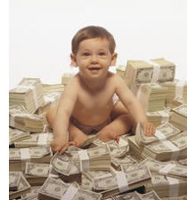 baby surrounded by money